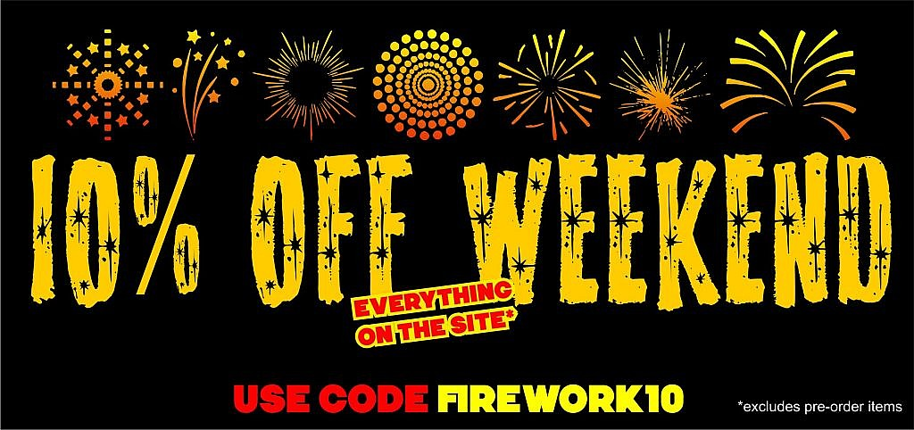 Grab yourself 10% off everything on www.soulbrother.com from now until the end of Sunday night with this code firework10 Excludes pre-order items, shipping not included. Enter the code at checkout. Online purchase and store collection is fine.